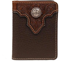 ARIAT OVERLAY WALLET BIFOLD CONCHO BROWN A3510402