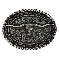 Montana Jewellery Two Tone Antiqued Round Barbed Longhorn Attitude Buckle (A742) [SD]