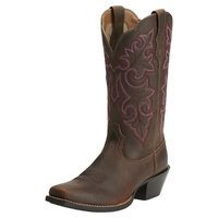 Ariat Womens Round Up Square Toe Boots (10014172) Powder Brown