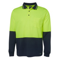 JB's Hi Vis Traditional L/S Polo (6HVPL) Lime/Navy