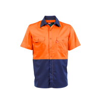 Jonsson Mens Air Hi Vis Vented S/S Work Shirt (G1024) Orange/Navy