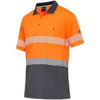 KingGee Hi Vis Workcool Hyperfreeze Spliced Taped S/S Polo (K54215) Orange/Navy