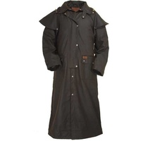 Outback Trading Mens Full Length Oilskin Duster Coat (2052) Brown