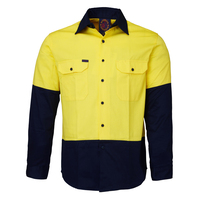 Ritemate Adults Hi Vis Open Front L/S Shirt (RM1050) Yellow/Navy