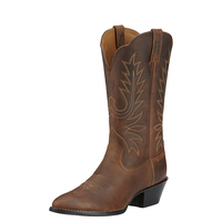 Ariat Womens Heritage Western R-Toe Boots (10001021) Distressed Brown