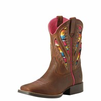 Ariat Childrens Quickdraw Venttek Western Boot (10027306) Distressed Brown