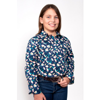 Just Country Girls Harper Half Button Pattern Work Shirt (GWLS1949) Blue