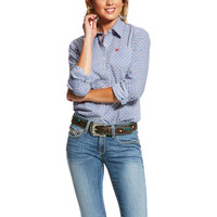 Ariat Womens Kirby Stretch Shirt Print (10026601) Classic Blue [SD]