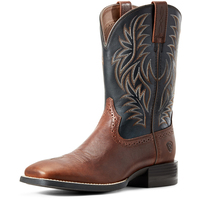 Ariat Mens Sport Western Wide Square Toe Boots (10029755) Cognac Candy/Black [AD]