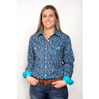 Just Country Womens Abbey Full Button Print Workshirt (WWLS2010) Navy