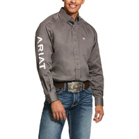 Ariat Mens Team Logo Twill L/S Shirt (10030751) Plum Grey [SD]
