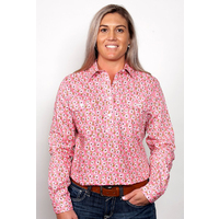 Just Country Womens Georgie Half Button Print Work Shirt (WWLS2018) Pink Floral