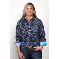 Just Country Womens Georgie Half Button Print Workshirt (WWLS2024) Navy Floral