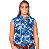 Just Country Womens Lilly Half Button Sleeveless Print Work Shirt (WWNS2029) Blue Leaves [SD]