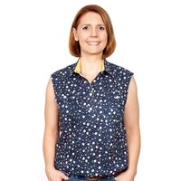 Just Country Womens Lilly Half Button Sleeveless Print Work Shirt (WWNS2041) Navy [SD]