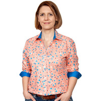 Just Country Womens Abbey Full Button Print Work Shirt (WWLS2106) Sherbert/Blue Jewel Tulips
