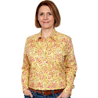 Just Country Womens Georgie Half Button Print Work Shirt (WWLS2130) Yellow Primrose