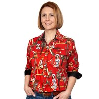 Just Country Womens Abbey Full Button Print Work Shirt (WWLS2133) Chilli/Black Vintage Rodeo