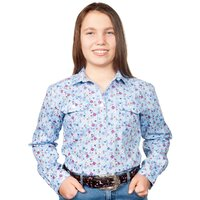 Just Country Girls Harper Half Button Print Work Shirt (GWLS2101) Light Blue Floral
