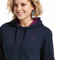 Ariat Womens REAL Arm Logo Hoodie (10033136) Navy Eclipse