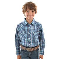 Pure Western Boys Brady Check L/S Shirt (P9S3100248) Navy/Teal _S19