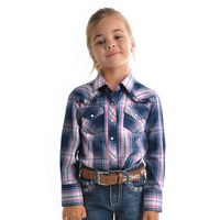 Pure Western Girls Cindy Check L/S Shirt (P9S5101277) Navy/Pink/Blue _S19