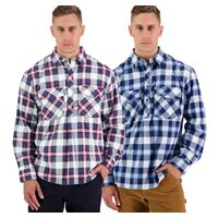 Swanndri Mens Egmont Half Button Flannel Shirt Twin Pack (SSE2232A)