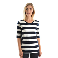 Thomas Cook Womens Lace-On-Stripe Elbow Sleeve Top (T9S2533068) Dark Navy/White _S19