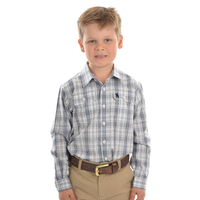 Thomas Cook Boys Andrew Check 2 Pocket L/S Shirt (T0W3140020) Denim _W20 [SD]