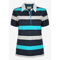 Thomas Cook Womens Myra Stripe Polo (T0S2518101) Light Blue/Navy