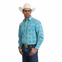 Wrangler Mens Logo Check L/S Shirt (MP1318M) Light Blue