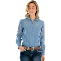 Wrangler Womens Vera Denim L/S Shirt (X0W2126439) Chambray _W20 [SD]