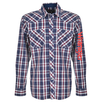 Wrangler Mens Arthur Check L/S Shirt (X0S1111511) Navy/Red