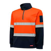 Hard Yakka Mens Hi Vis Two Tone 1/4 Zip Brush Fleece Jumper With Tape (Y19270) Orange/Navy