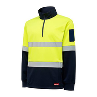 Hard Yakka Mens Hi Vis Two Tone 1/4 Zip Brush Fleece Jumper With Tape (Y19270) Yellow/Navy