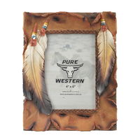 Pure Western Three Feathers Picture Frame 4X6 (P9S1901GFT) Assorted OSFM _S19