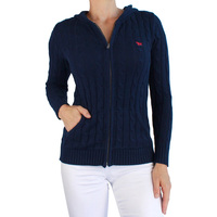 Ringers Western Womens  Nimberline Hood Cable Knit Sweater (217113003) Navy