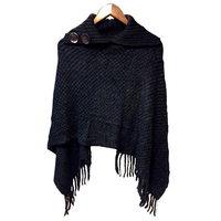 Tulmur holdings Moss Stitch Look Acrylic Poncho (S499) Black