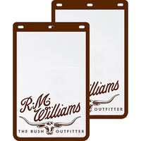 R.M. Williams Heavy Duty Ute Mud Flaps (MDRMW) White/Brown, 24cm x 36cm