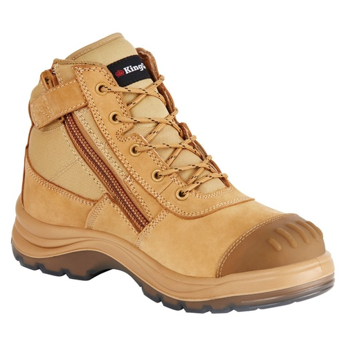 KingGee Mens Tradie Lace Up Zip Safety Boots (K27100) Wheat [AD]