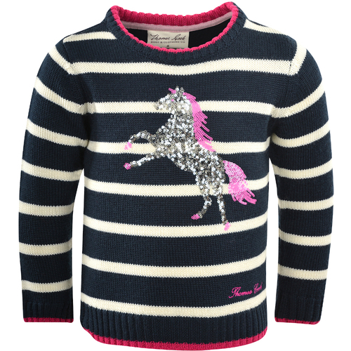 Thomas Cook Girls Stardust Horse Sequin Jumper (T1W5523072) Dark Navy/White/Pink